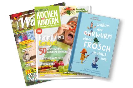 Produktpalette aus der WARUM!-Familie: Bücher, Sonderhefte, Magazine