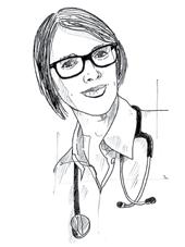 Zeichnung eines Porträts von Nina Mudlaff