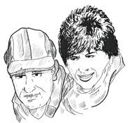Zeichnung eines Porträts der Bernsteinsammler Petra und Dieter Jung