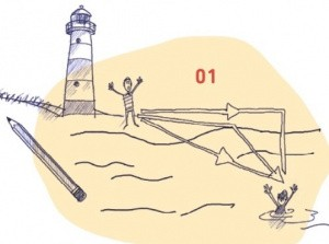 Illustration von Rettungsschwimmer am Strand