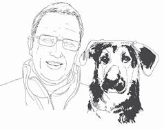 Rudi Kolb mit seinem Lawinensuchhund
