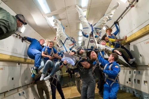 Astronautin Insa Thiele-Eich beim Parabelflug