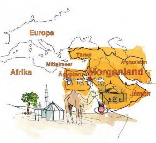 Illustriere Karte des Morgenlandes
