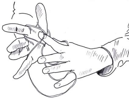 Finger schlüpft unter die Schlaufe
