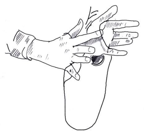 Zeigefinger unter Handflächenfaden