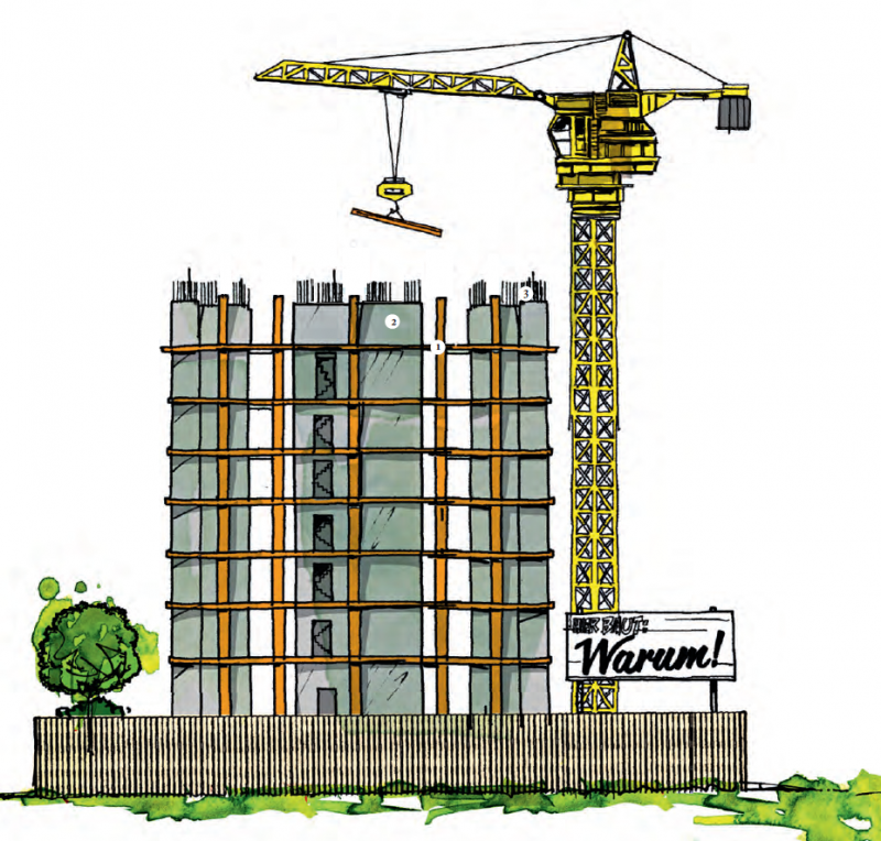 Illustration eines Wolkenkratzers im Rohbau