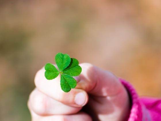 Kinderhand mit Glücksklee