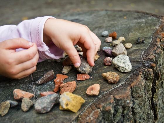 Kind sammelt Steine im Wald