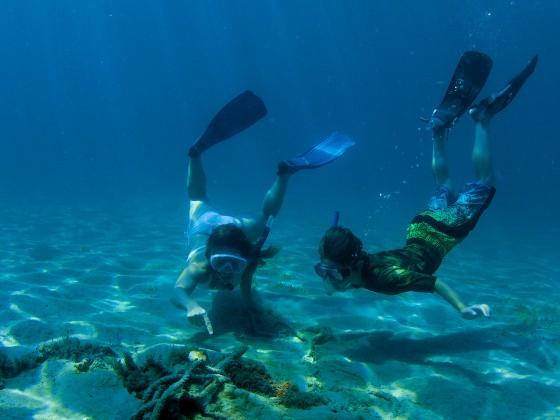 Kinder schnorcheln im Meer