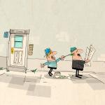 """Illustration Redewendung """"Noch grün hinter den Ohren sein"""""""