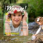 Warum!-Cover 1/2018 auf frühlingshaften Hintergrundbild