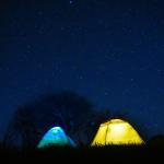 Zwei beleuchtete Zelte unter Sternenhimmel