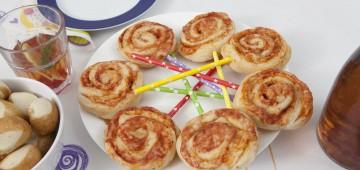 Pizza-Lollies auf dem Geburtstagstisch