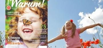 Warum!-Cover 2/2016 auf Hintergrund mit Mädchen auf Klatschmohnwiese