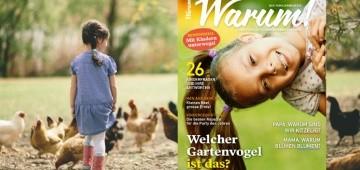 Warum!-Frühlingsausgabe 2/2017 auf Hintergrundbild mit Kind und Hühnern